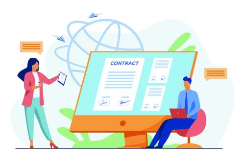 Business people signing online contract with electronic sign vector illustration. Managers reaching official agreement. Formal documents, online contract